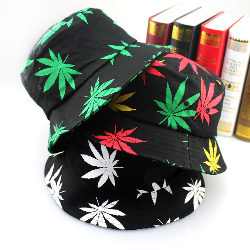 Free Shipping  New Fashion Hip Hop Green White Leaf Print Fishing Caps Weed Bucket Hats For Mens
