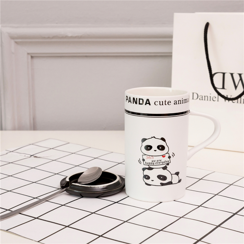 Cute Animal Panda Mugs with spoon Coffee Cups with Lid Ceramic Mug water bottle Milk Breakfast cup Lover Office Drinkware Gift