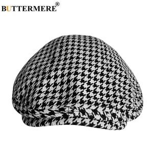Image 1 - BUTTERMERE Cotton Flat Caps For Men Houndstooth Black Beret Male Casual Uv Duckbill Ivy Cap Vintage Autumn Mens Directors Hat