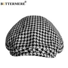 BUTTERMERE ฝ้ายแบนหมวกสำหรับชาย Houndstooth สีดำ Beret ชาย UV Duckbill Ivy Cap VINTAGE ฤดูใบไม้ร่วงผู้ชายกรรมการหมวก