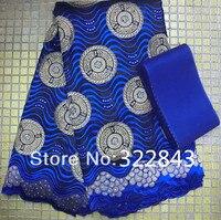Высокое качество Африканский Королевский синий цвет швейцарская вуаль кружева с камнями для свадьбы, соответствующие Асо Оке headtie Африканс