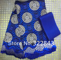 high quality african royal blue swiss voile lace with full stones for wedding matching aso oke headtie african cotton lace cloth