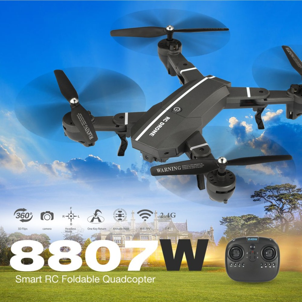 8807W FPV Foldable RC Drone Selfie Quadcopter Toys 4ch with Wifi Camera Live Video Altitude Hold Headless Mode 360 Flips RTF jjrc h12wh wifi fpv with 2mp camera headless mode air press altitude hold rc quadcopter rtf 2 4ghz