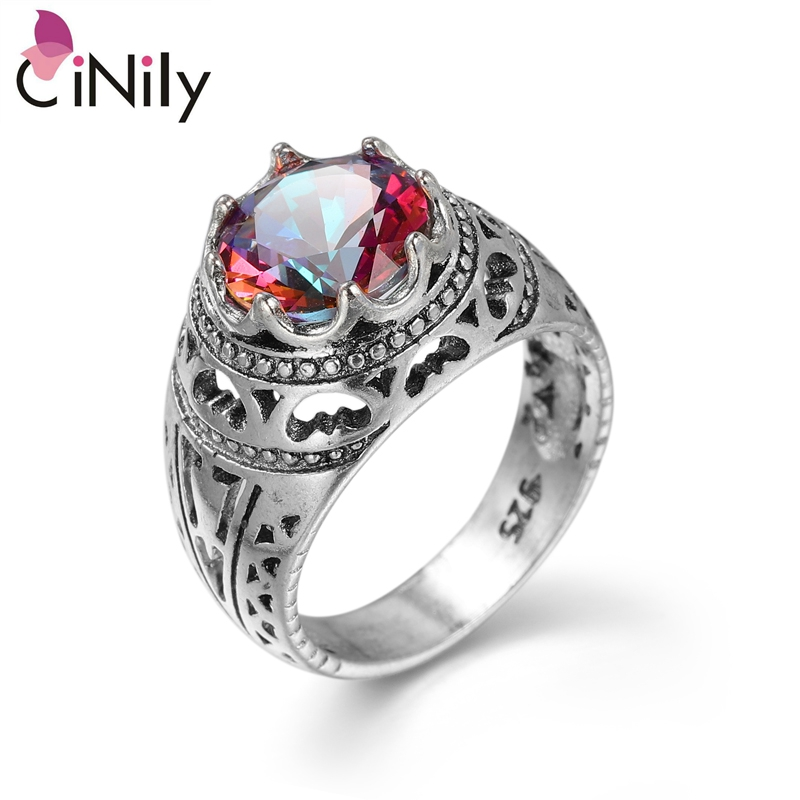 Cinily Jewelry Mystic-Stone Ring-Size Wedding-Gift Silver-Plated Women New-Arrived