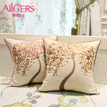 Avigers Cotton Linen Decorative Pillows Life Tree Leaves Butterfly Embroidered Cushion Covers Pillow Cases 45 x 45cm 50cm