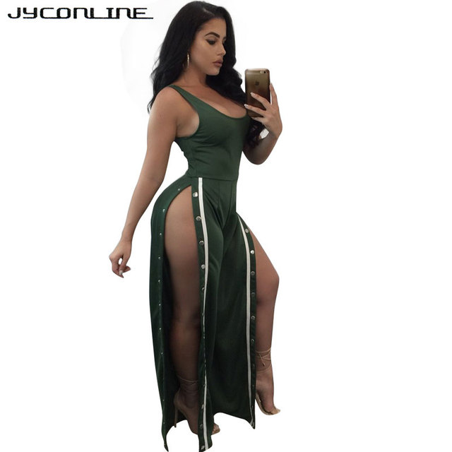 d2909c0502ed JYConline Sexy Split Wide Leg Women Jumpsuit Button Sleeveless Overalls  Female Rompers And Jumpsuit Night Club Playsuit Bodysuit