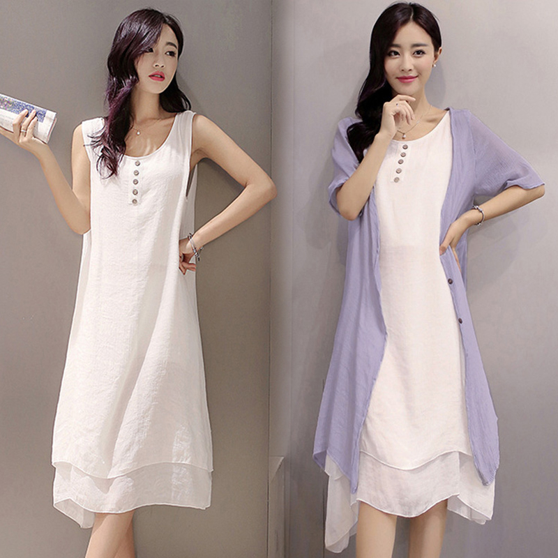 EaseHut 2 Piece Women\'s Summer Sundress 2019 Elegant 4XL 5XL Plus Size  Dress Cardigan and Tank Two Piece Midi Dresses Vestidos