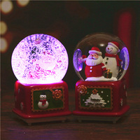 Rotatable Christmas Crystal Ball Music Box Floating Snow with Lights Christmas Decorations for Home New Year Gifts