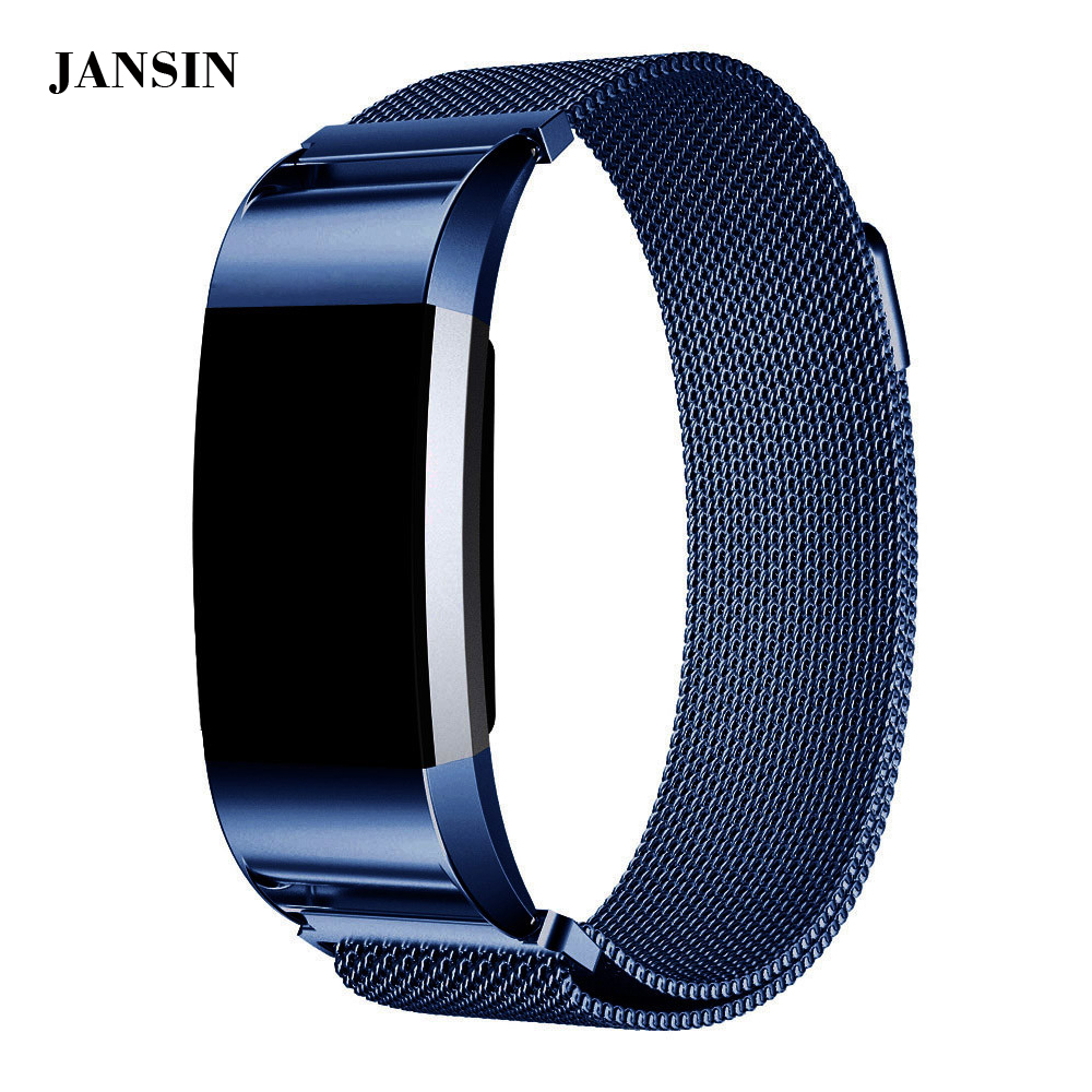 Hot sale Magnetic Milanese Loop Wrist strap for Fitbit Charge 2 band luxury Stainless Steel Link Bracelet+screen protector film