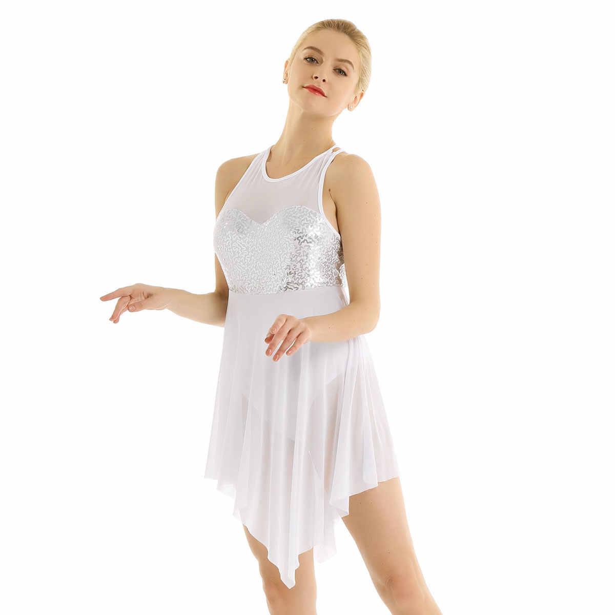 Iiniim, для взрослых, с блестками, асимметричный костюм, сетка, крест-накрест на спине, гимнастический купальник, Одежда для танцев для женщин, балерина, танцевальное платье
