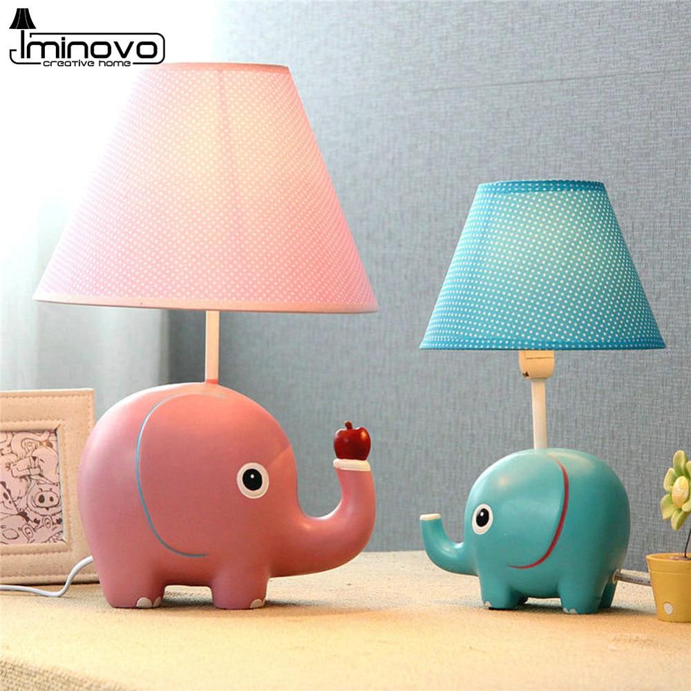 Iminovo Cartoon Table Lamp Fashion Bedroom Decor Bedside Desk Lamps For  Children Kids Elephant Pink