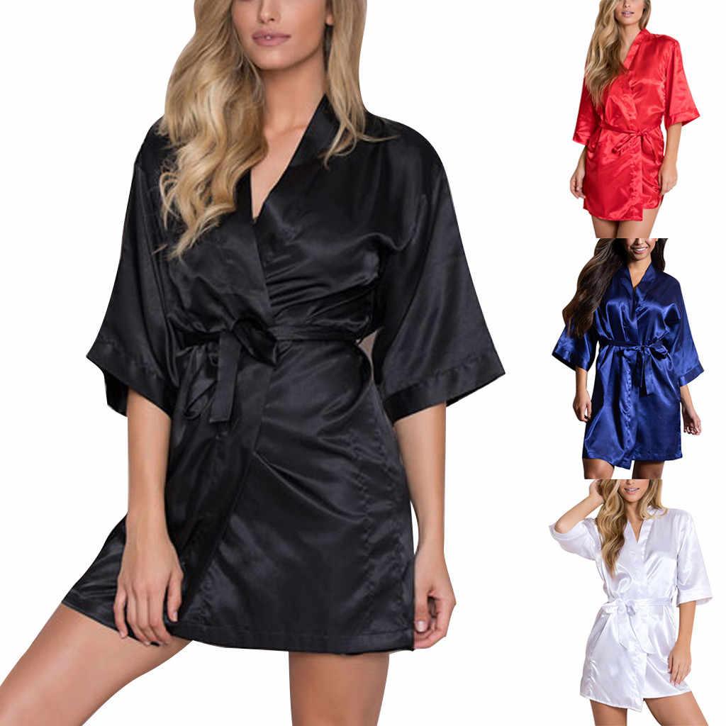 נשים חלוק סאטן סקסי הלבשה תחתונה גבירותיי הלבשת תחבושת שחור לילה שמלת נקבה חלוק Nightwear מוצק תחתונים פאטאל ארוטית