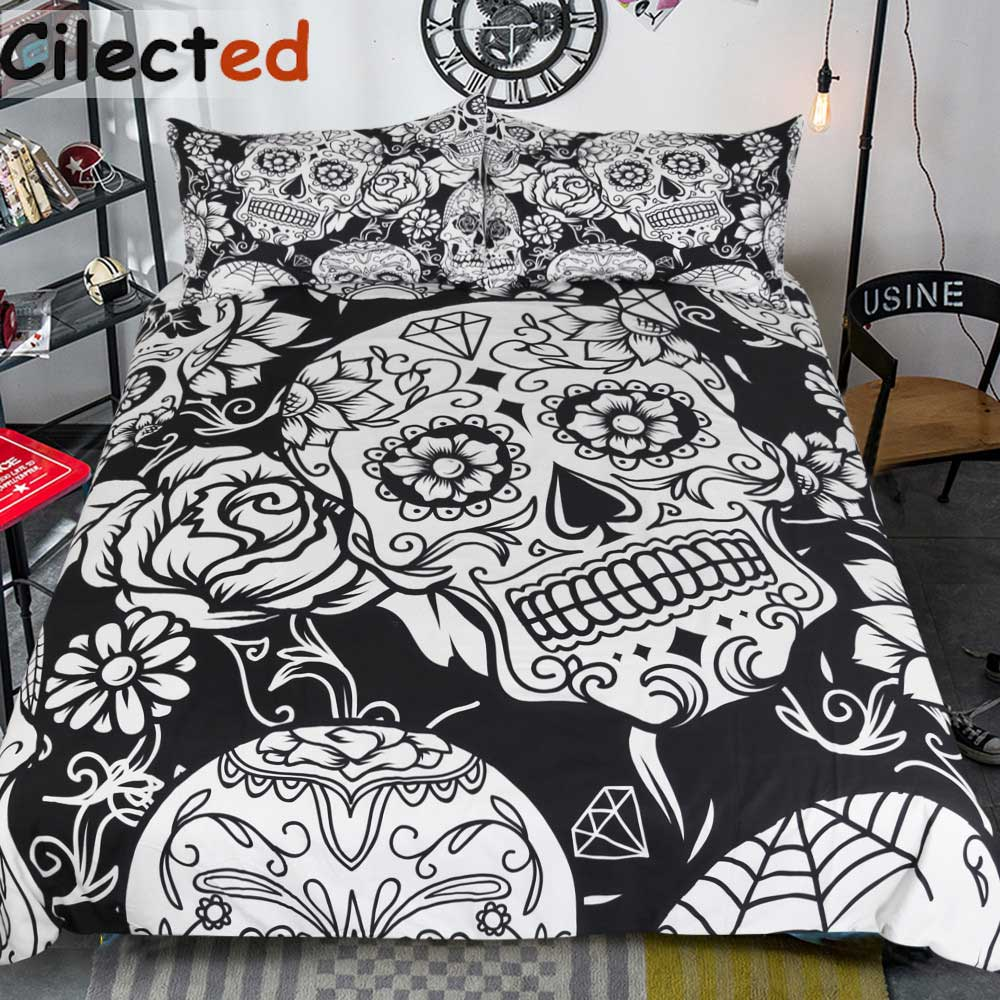Cilected 3Pcs Black And White Duvet Cover With Pillowcases Sugar Skull Bedding Set Au Queen King Size Flower Soft Bed Covers