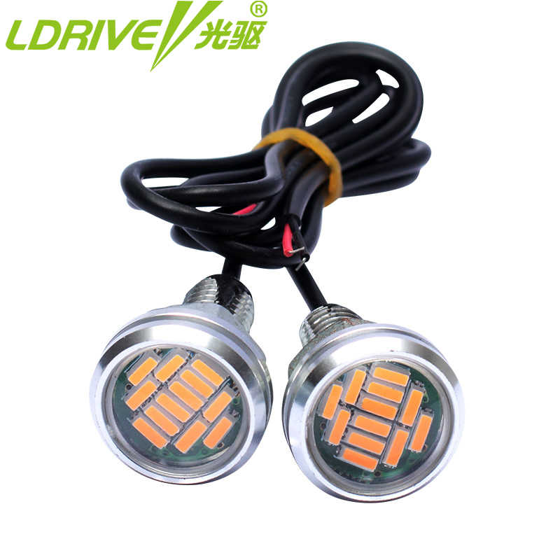 LDRIVE 23MM 2PC/lot Hawkeye Car LED daytime running lights Rearview mirror Reversing auxiliary DRL headlights Motorcycle light