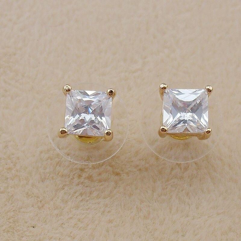 38cfa70480f Pequeno 7mm Nova Moda Zircão Cúbico Grande Cristal 18 K Brincos de Ouro  Stud para Mulheres Meninas Presentes 2018 Moda