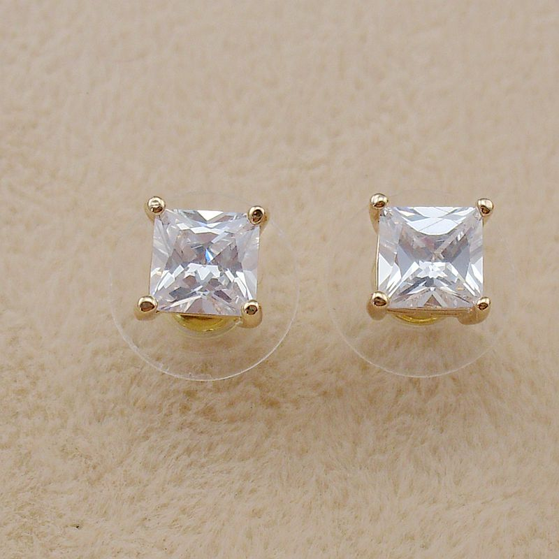 Small 7mm New Fashion Cubic Zircon Large Crystal 18 K Golden Stud Earrings for Women Girls Gifts 2018 Trendy,Item NO.: WE10195B1