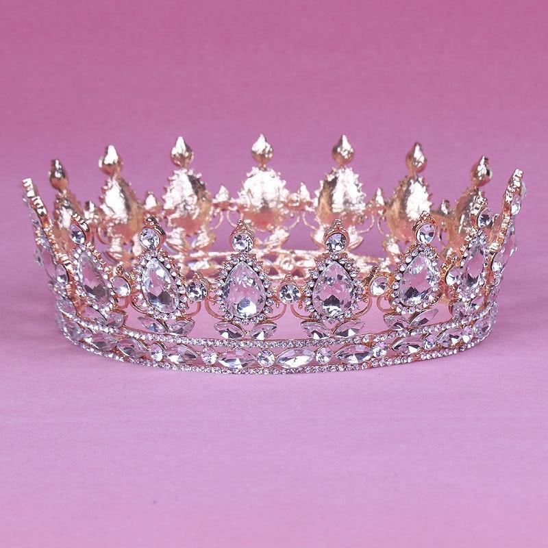 Bride Wedding Crown: Vintage Rose Gold Color Baroque Queen King Bride Tiara