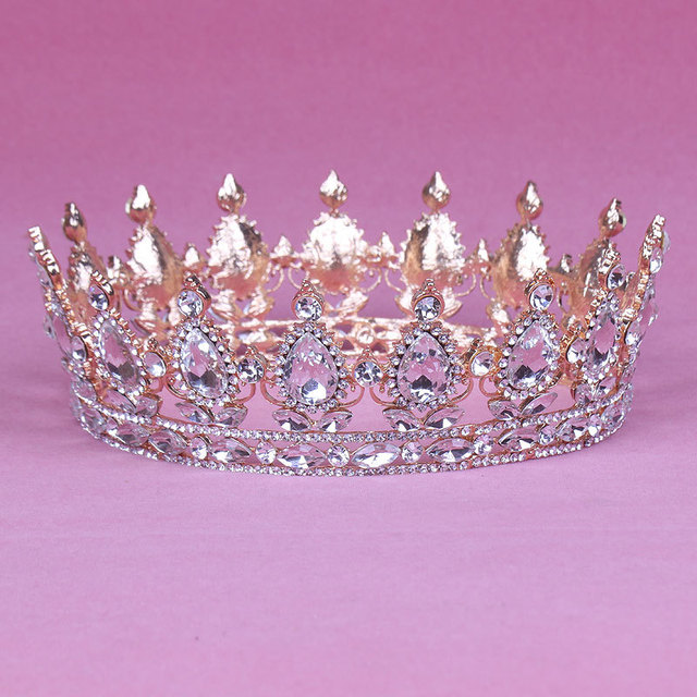 Vintage Rose Gold Color Baroque Queen King Bride Tiara Crown For Women Headdress Bridal Wedding Tiaras