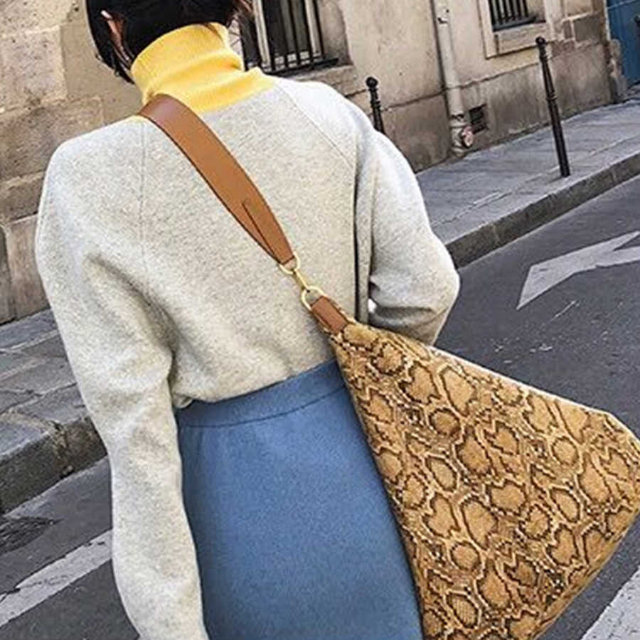 Bolsas de mensajero serpentina de gran capacidad a la moda para mujer, bolsos bandolera con patrón de serpiente, para mujer, 2019 Bolsa femenina