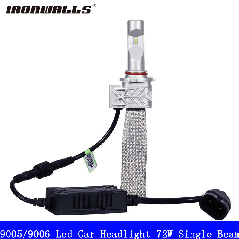 Ironwalls Led 9005 9006 Car Headlight Bulbs 72W Cree Csp Chips 6500K 8000Lm Single Beam Auto Front Headlamp Kit DC 12V 24V ironwalls h11 led car headlight bulbs cree csp chips 72w 8000lm 6500k auto front fog light headlamp 12v 24v for ford toyota