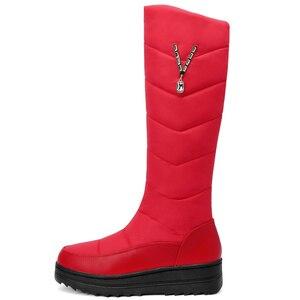 Image 3 - Женские зимние ботинки MEMUNIA, теплые ботинки до середины икры на меху с нескользящей резиновой подошвой на молнии, 2020