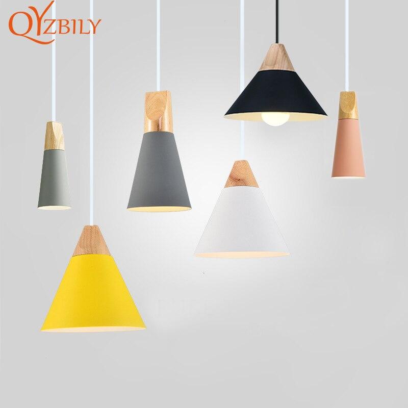 Luzes pingente de metal de madeira Colorido E27 conduziu a lâmpada pendant 7 cores design nórdico luzes penduradas decoração da sala de jantar luz da corda diodo emissor de luz