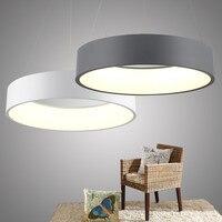 Современные Акриловое кольцо светодиодный подвесной светильник белый серый круглый Подвесная лампа для Гостиная Кабинет Простой Костюмы