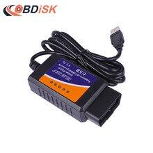 USB ELM327 V1.5 OBD2 OBDII Code Reader Scanner with PIC18F25K80 Chip ELM 327 USB Adapter Work on Android Windows Phone PC
