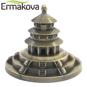 ERMAKOVA Metal Beijing Temple of Heaven Park Model Figurine Chinese Famous Landmark Architecture Home Office Decor(China)