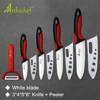 """Cuchillo de cocina de cerámica juego de cocina 3 """"4"""" 5 """"6"""" pulgadas + pelador de hoja blanca de Paring herramientas de cocina con cuchillo para Chef"""