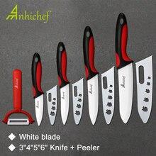 Кухонный керамический нож, кухонный набор, 3 «4» 5 «6» дюймов + Овощечистка, белый нож для очистки овощей, плод, нож для шеф-повара, кухонные инструменты