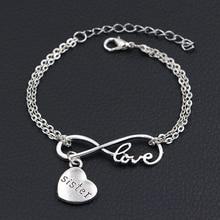 803f2b9178 2019 nuevo amor mi hermana dijes pulseras plata antigua DIY joyería hecha a  mano infinito amor encantos pulseras para regalo de .
