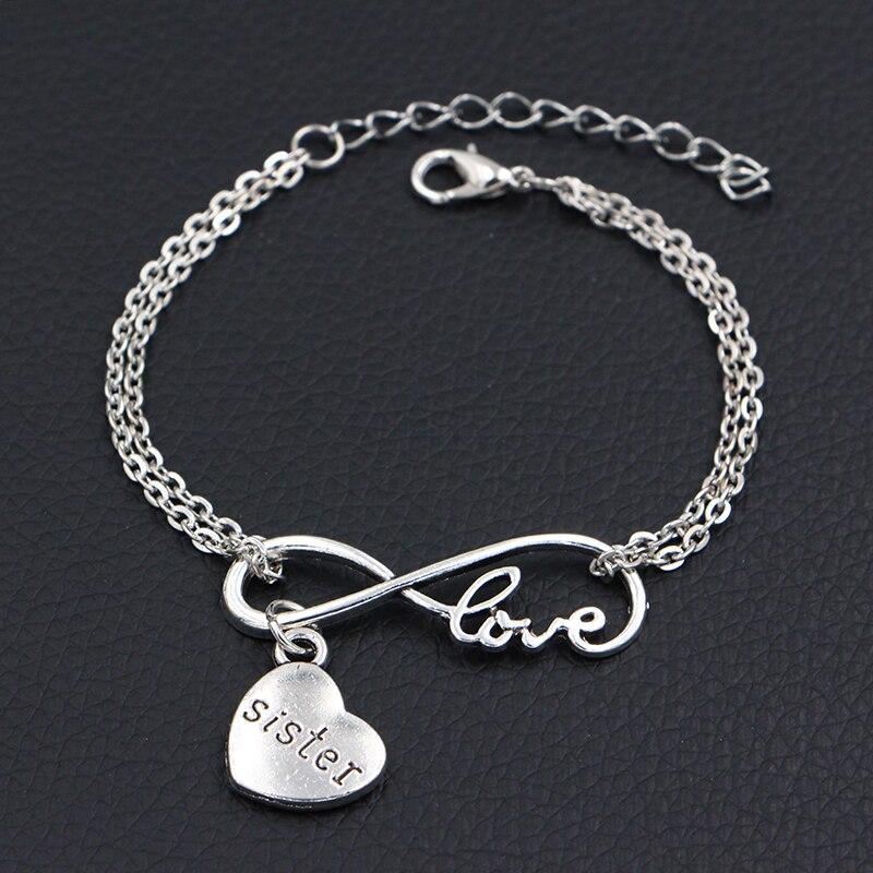 Подвески Love My Sister, украшения ручной работы в виде знака бесконечности, подвески для браслетов