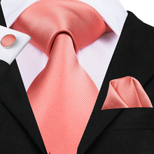 Hi-Tie Men Tie Silk Peach Top Quality Gold Red Blue Pink coral Solid Ties for Wedding Party Business Hanky Cufflinks Set