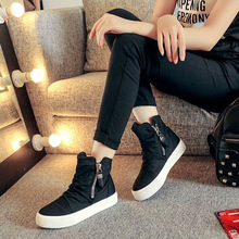 2016 new fashion high-top sleeve casual shoes flat with canvas shoes women letters