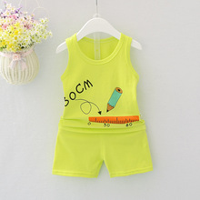 2019 new baby girls and boys clothes quality cotton kids bodysuit summer sleeveless children clothing sets cartoon body vest