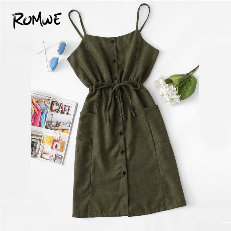 ROMWE Single Breasted Drawstring Waist Pocket Side Dress 2018 Sleeveless Spaghetti Strap Knee Length Women Dress Shift Dress