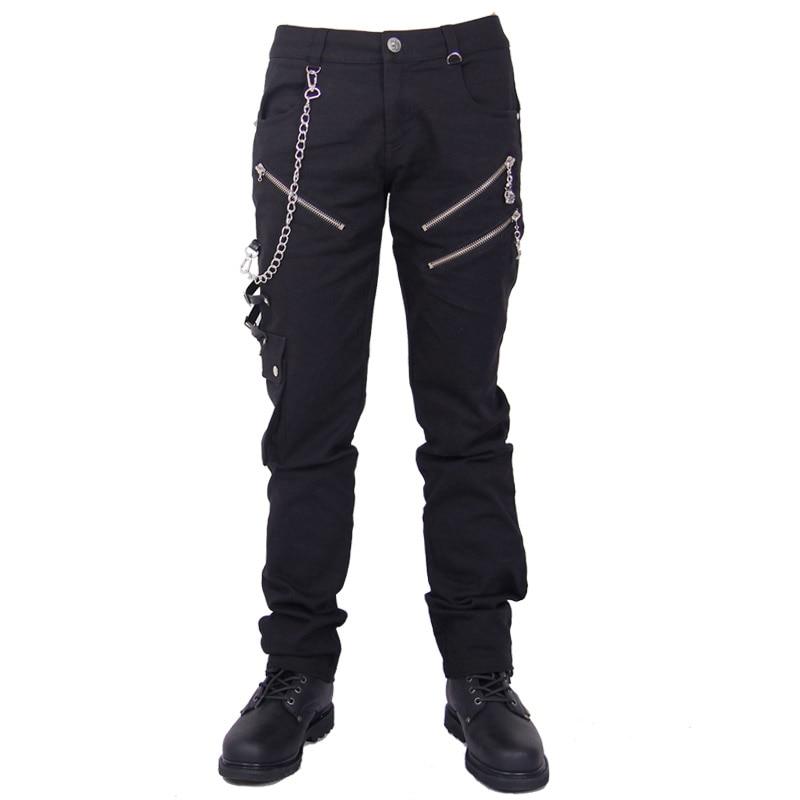 Punk Mens Black Leggings Full Length Casual Pants With Button Gothic Style Pencil Pants 2017solid black fashion women pants autumn rocker punk sexy style leggings street metallic femme casual slim pants