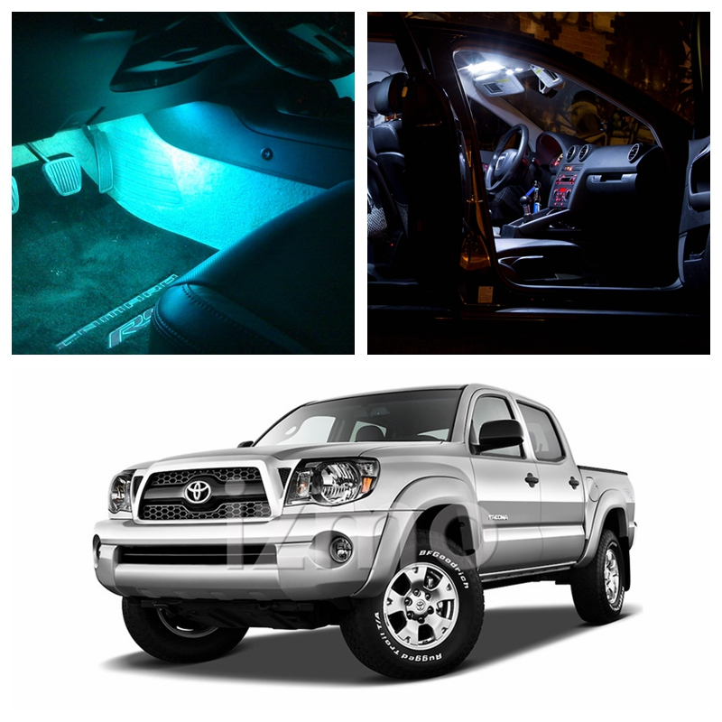 9Pcs Ice Blue Bulbs White LED Lights Interior Package Kit For 2005-2015 Toyota Tacoma Map Dome License Plate Light Toyota-EF-14 9pcs canbus error free white car led light bulbs interior package kit for 2002 2005 mini cooper map dome license plate lamp