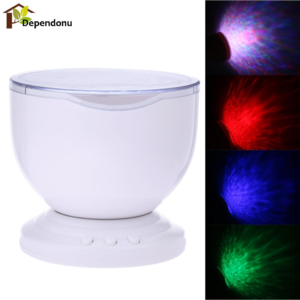 Romantic 7 Colorful LED Projector Light With Speaker USB Rainbow Ocean Wave Projector Light Lamp For