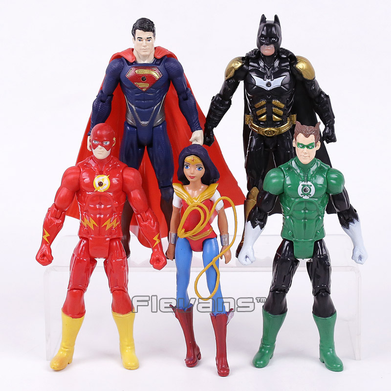 DC Super Heroes Justice League Superman Batman Wonder Woman Green Lantern The Flash PVC Action Figures Toys Kids Boys Gifts 16cm