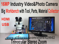 Efix 14MP HDMI USB Camera Trinocular Stereo Continues Zoom 7 45X Microscope With Workbench For Fix