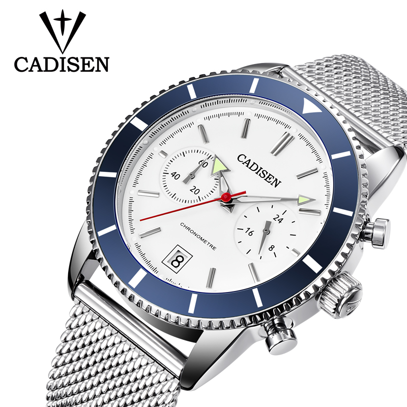 CADISEN Business Sport Chronograph Fashion Watch Men Stainless steel Mesh Band Waterproof Luxury Brand Quartz Watch