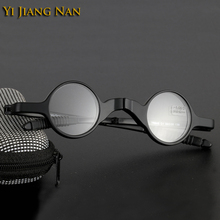 Yi Jiang Nan Brand Fashion Black Small Round Eyewear TR90 Opitcal Glasses Frame Folding Reading Retro with Case