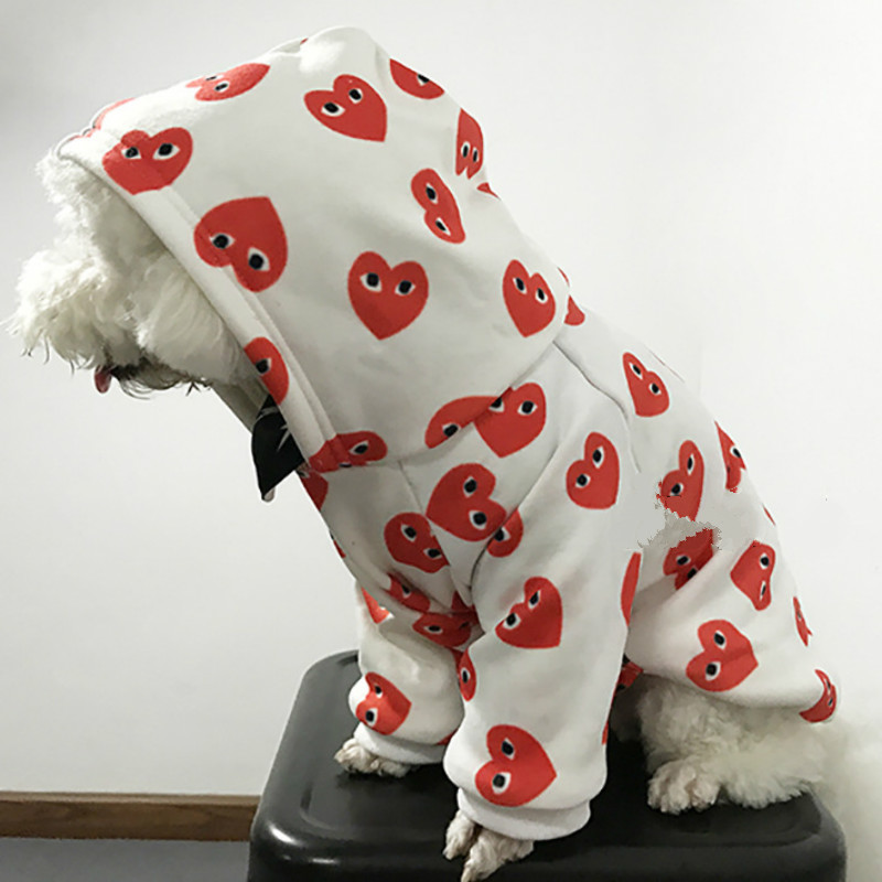 Autumn and winter tide brand unique love print pet hoodie clothes dog cat plus velvet suit