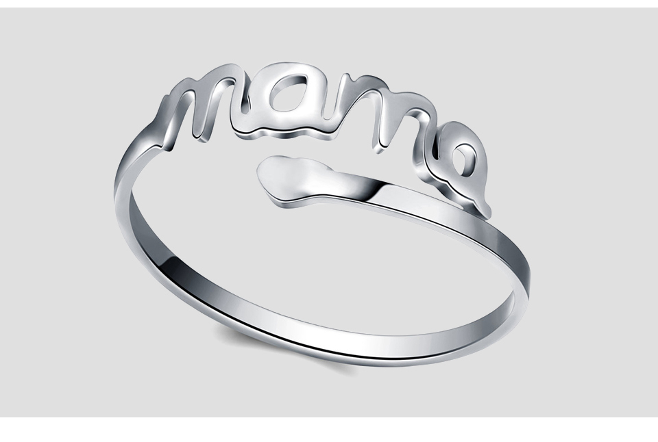 SKQIR Vintage Silver Heart Love MAMA Rings Stainless Steel Cuff Ring Women Jewelry For Birthday Mother's Day Gift Open Mom Ring