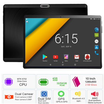 2019 Newest 10 inch Tablet PC 3G 4G LTE Octa Core Android 7.0 OS 4GB RAM 64GB ROM 5.0MP 2.5D Tempered Glass Android Tablet 10.1
