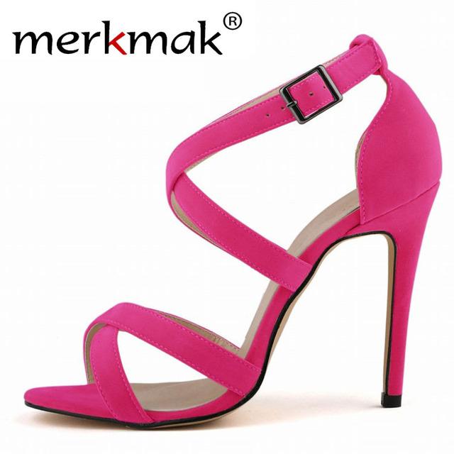 Mulheres sandálias de dedo aberto 2015 verão Sexy Ladies Shoes mulheres com tira no tornozelo sandálias de camurça salto fino moda vestir sandálias de salto alto