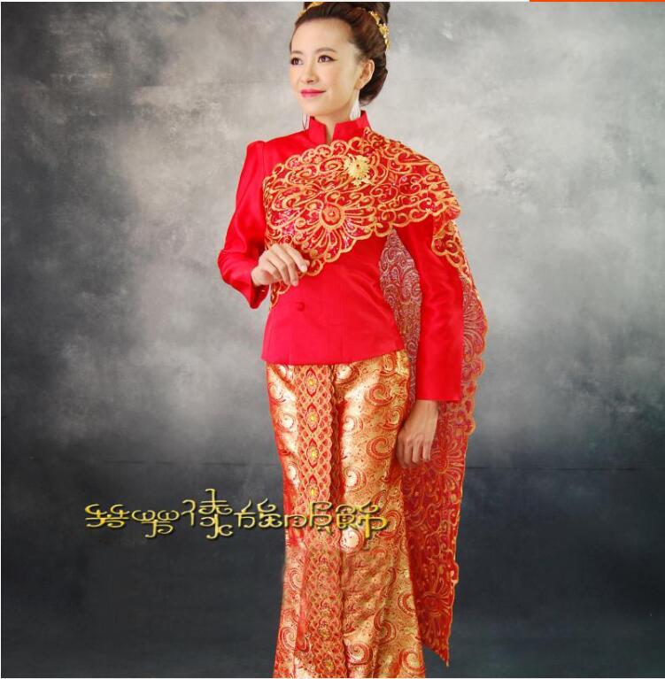 New Thailand Traditionele Trouwjurk Rode Hoge Kwaliteit Thailand @AE96