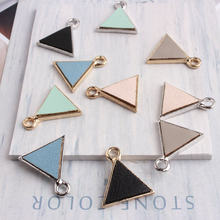 20pcs/lot New Triangle Shape Charm Pendant 16mm Silver Gold Color Tone Triangle With Leather Charms C1014(China)